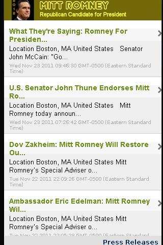 2012 Candidate: Mitt Romney - screenshot