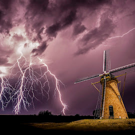 Sparks at the mill by Craig Eccles - Landscapes Weather ( thunder, lightning strike, lightning, lightning bolt, lightning storm., cloud, weather, thunder storm, thunder bolt, storm, windmill )
