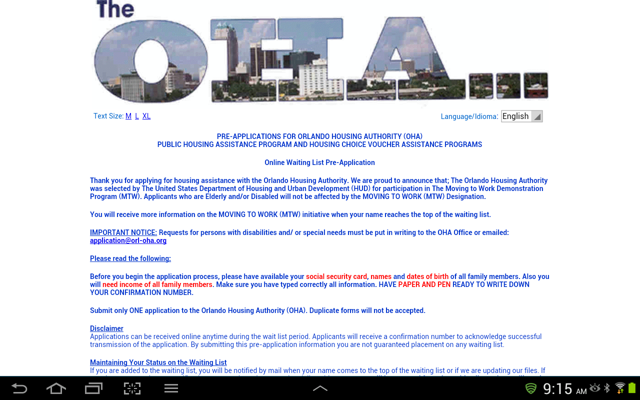 Orlando Housing Authority- screenshot