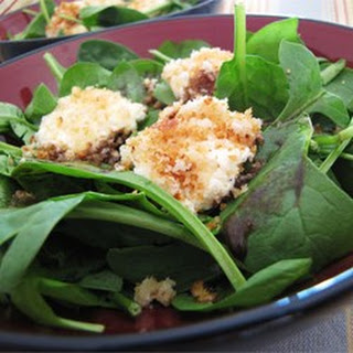 Spinach Salad with Baked Goat Cheese.