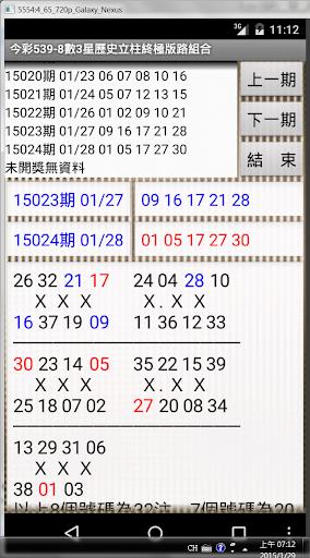 12今彩539-8數3星歷史立柱終極版路組合