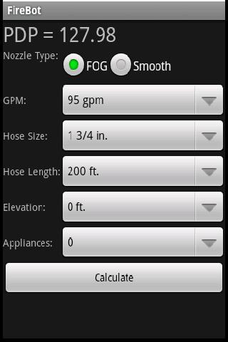 Firebot Fire Pump Calculator- screenshot