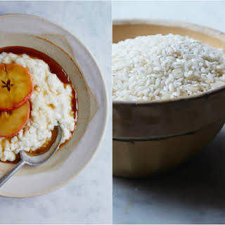 Warm Rice Pudding with Caramel Apples.