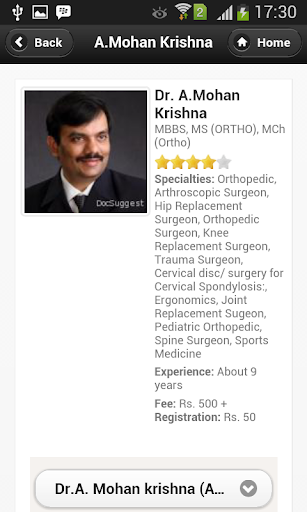 Dr A.Mohan Krishna Appointment