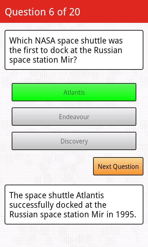 Space Trivia- screenshot