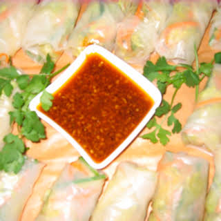 Vegetarian Spring Rolls w/ Asian Chile Dipping Sauce.