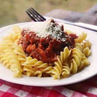 Pasta with Homemade Super Quick Marinara Sauce with Zucchini and Ham.