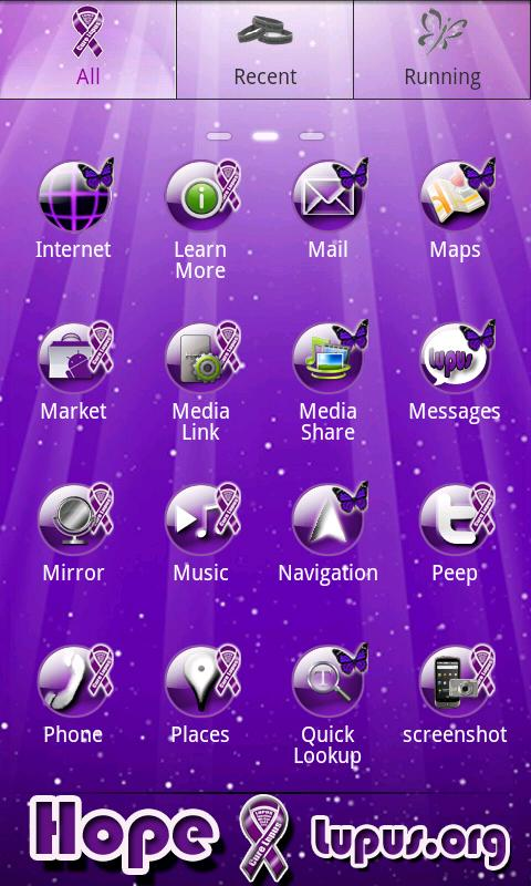 XO Purple Butterfly Theme - screenshot
