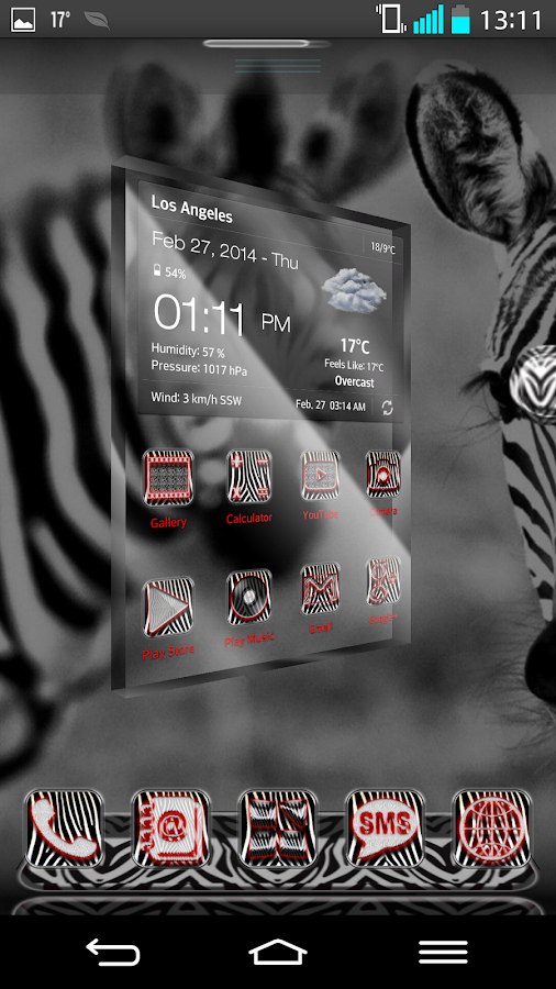Next Launcher 3D Theme Zebra - screenshot