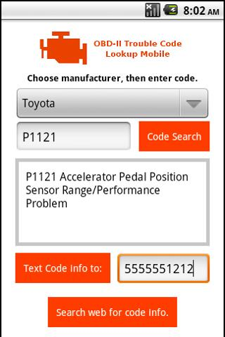OBD 2 Trouble Code Lookup - screenshot