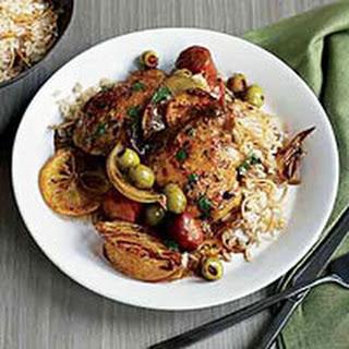 Lemon-Garlic Spanish Chicken Thighs and Rice Pilaf.