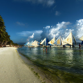 Boracay beach front by Leyon Albeza - Landscapes Travel ( clouds, seafront, sailing,  )