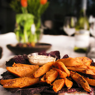 CHILI & BROWN SUGAR SWEET POTATO WEDGES WITH CHIPOTLE AIOLI DIPPING SAUCE.