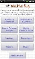 Screenshot of Maths Bug, mental maths games
