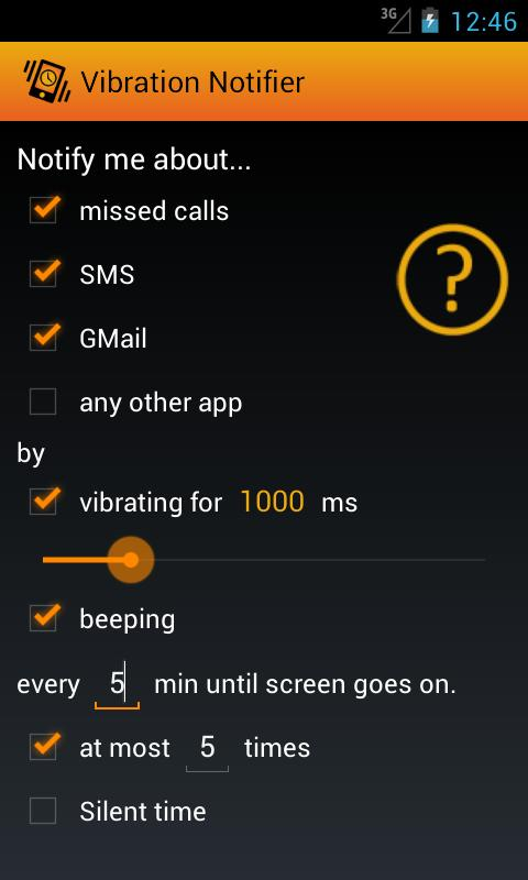 Vibration Notifier - screenshot