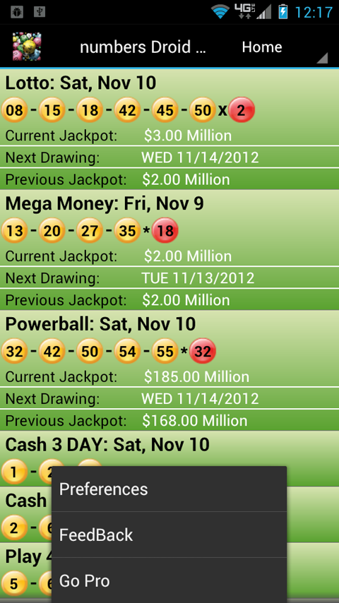 Indiana Lottery Droid Lite - screenshot