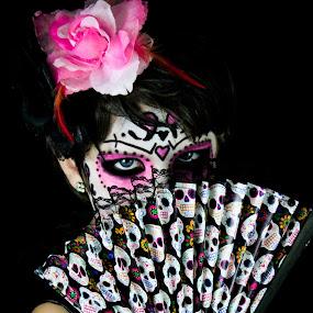 Peek-a-boo! by Brooke Beauregard - Public Holidays Halloween ( skull, sugar skull, corpse paint, day of the dead, fan )