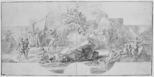 The Landing of Columbus in America, study for a painting (destroyed in 1777) for the Sala del Minor Consiglio, Palazzo Ducale, Genoa