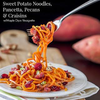 Sweet Potato Noodles with Pancetta, Pecans & Craisins.