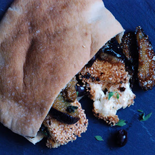 Sesame-Crusted Feta and Fig Jam in a Pita Sandwich