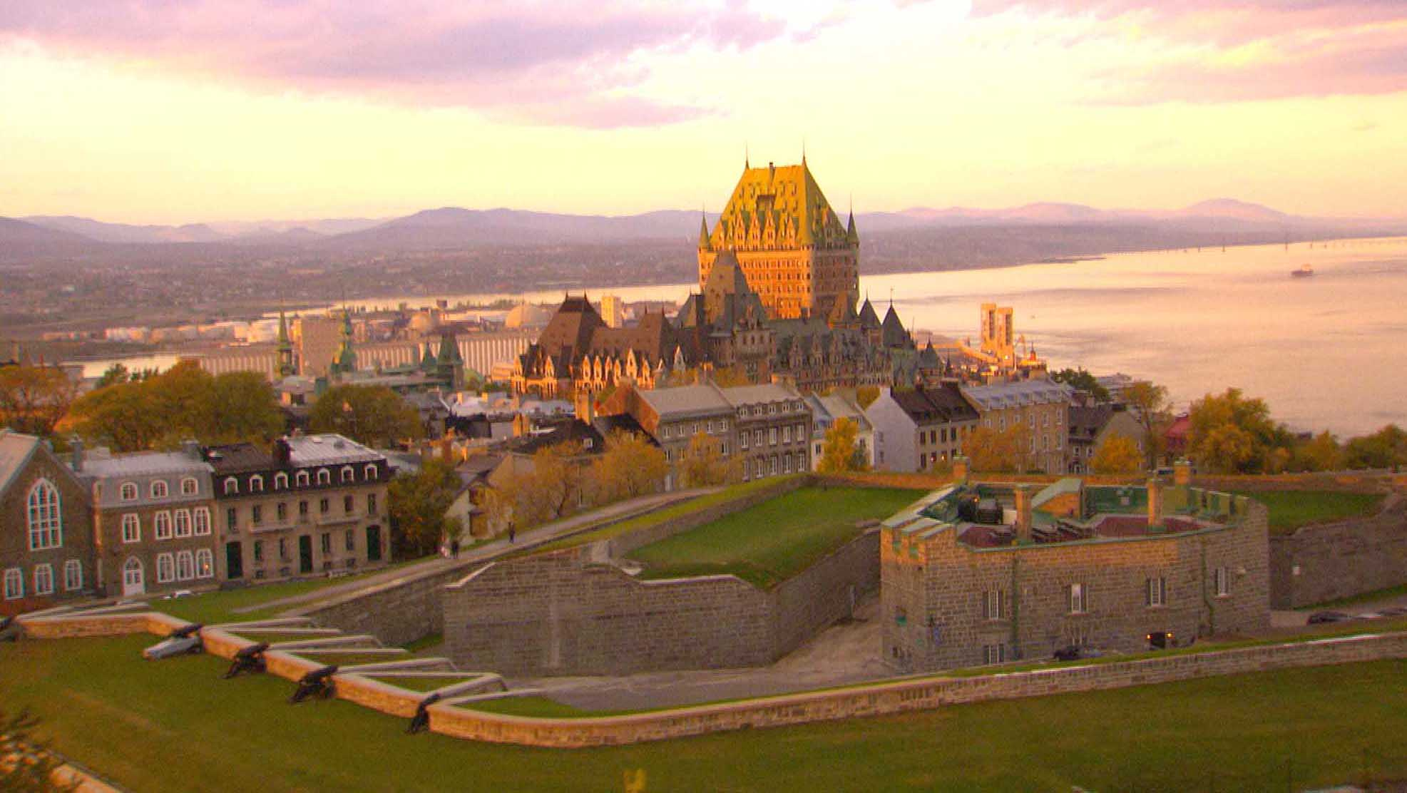 Another view of storied Chateau Frontenac at sunset in Quebec City.