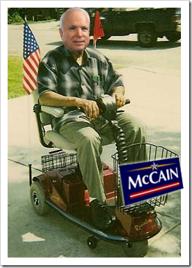 John McCain on a Rascal Scooter