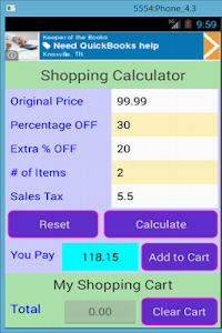Shopping Calculator screenshot 1