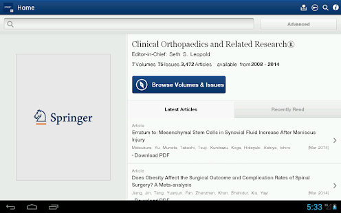 Clinical Orthopaedics Rel Res®- screenshot thumbnail