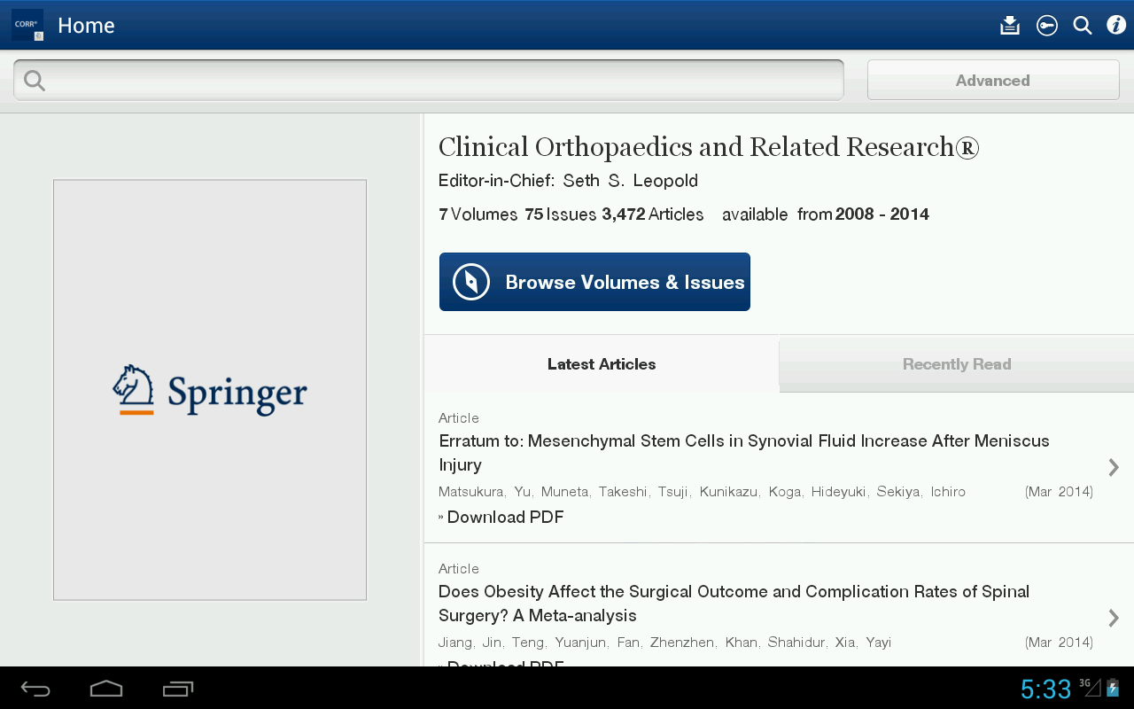 Clinical Orthopaedics Rel Res®- screenshot