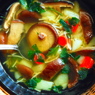 Asian Noodle Soup with Baby Bok Choy and Mushrooms.