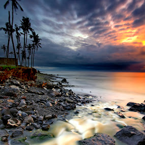 back to the ocean by Agus Eka Kurniawan - Landscapes Waterscapes ( water, sky, tree, cloud, stone, sunrise, beach, landscape, river )