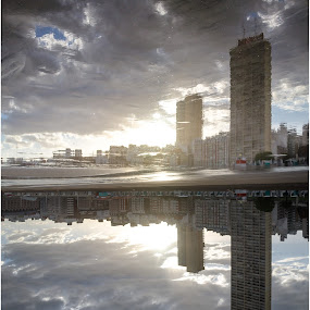 This picture is inverted! by Sergio Moya - City,  Street & Park  Vistas ( building, sunset, sea, sunrise, reflexion, city )