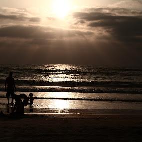 Watch and Play by Yana Villion - Landscapes Beaches ( sky, nature, sea, seascape, beach, people, dusk, landscape, silhouette, , golden hour, sunset, sunrise )