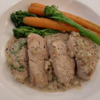 Pork medallions with mustard and Bourbon sauce.