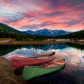 Sunrise at Cascade Ponds by Alan Crosthwaite - Landscapes Waterscapes ( adventure backgrounds, canada, cascade ponds, lakes, canoe, reflections, lake, scenic, banff, canoes, ponds, adventure, canadian rockies, banff national park, rockies, scenic mountains, sunrise, landscapes, pond, reflective )