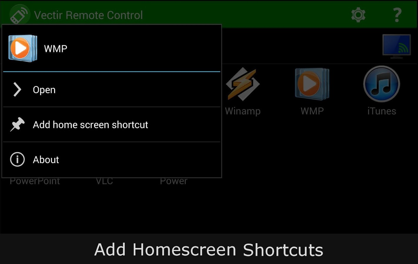 Vectir Remote Control - screenshot