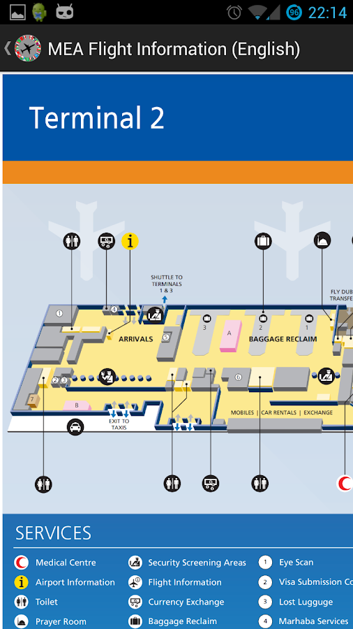 MEA Flight Information English - screenshot