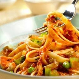 Spicy Tuna and Tomato Sauce with Fettuccine.