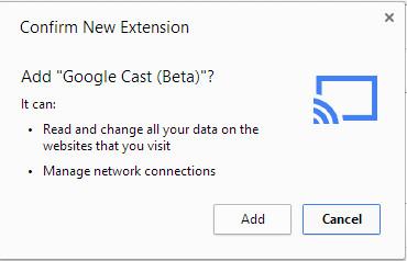 Google Cast - Confirm New Extension