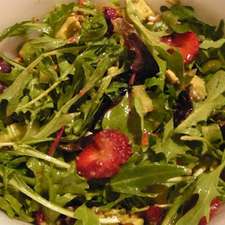 Spinach and Spring Mix, Strawberry, Avocado Salad with Honey Double Lime Dressing.