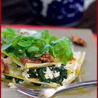 Lasagna with Ricotta, Spinach, Walnuts and Arugula