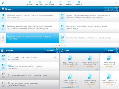 Rostelecom Investor Relations - screenshot thumbnail