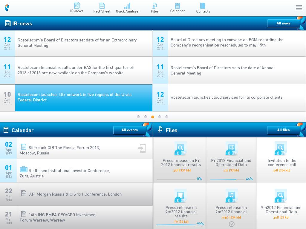 Rostelecom Investor Relations - screenshot