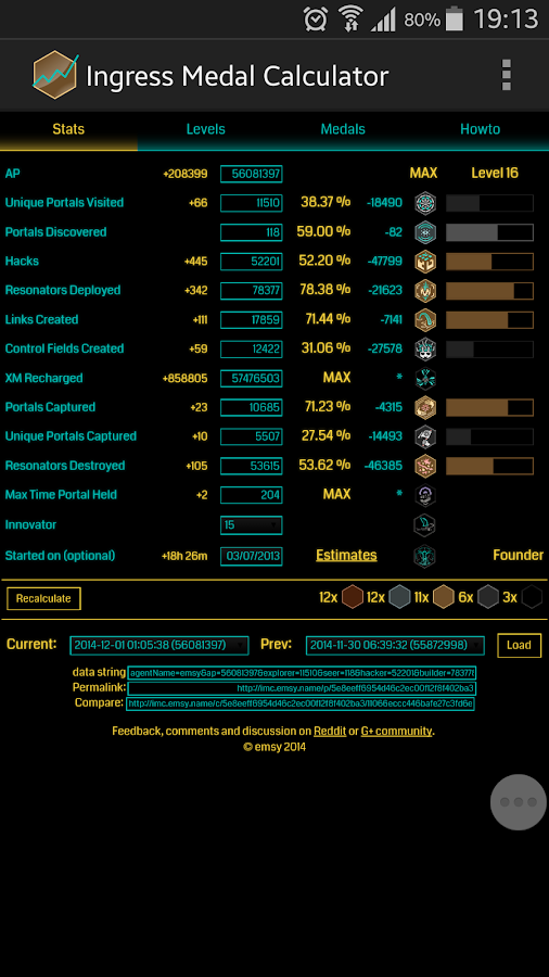 Ingress Medal Calculator- screenshot