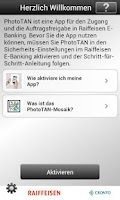 Screenshot of PhotoTAN Raiffeisen Schweiz