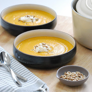 Roasted Sweet Potato and Cauliflower Soup with Honey Whipped Burrata
