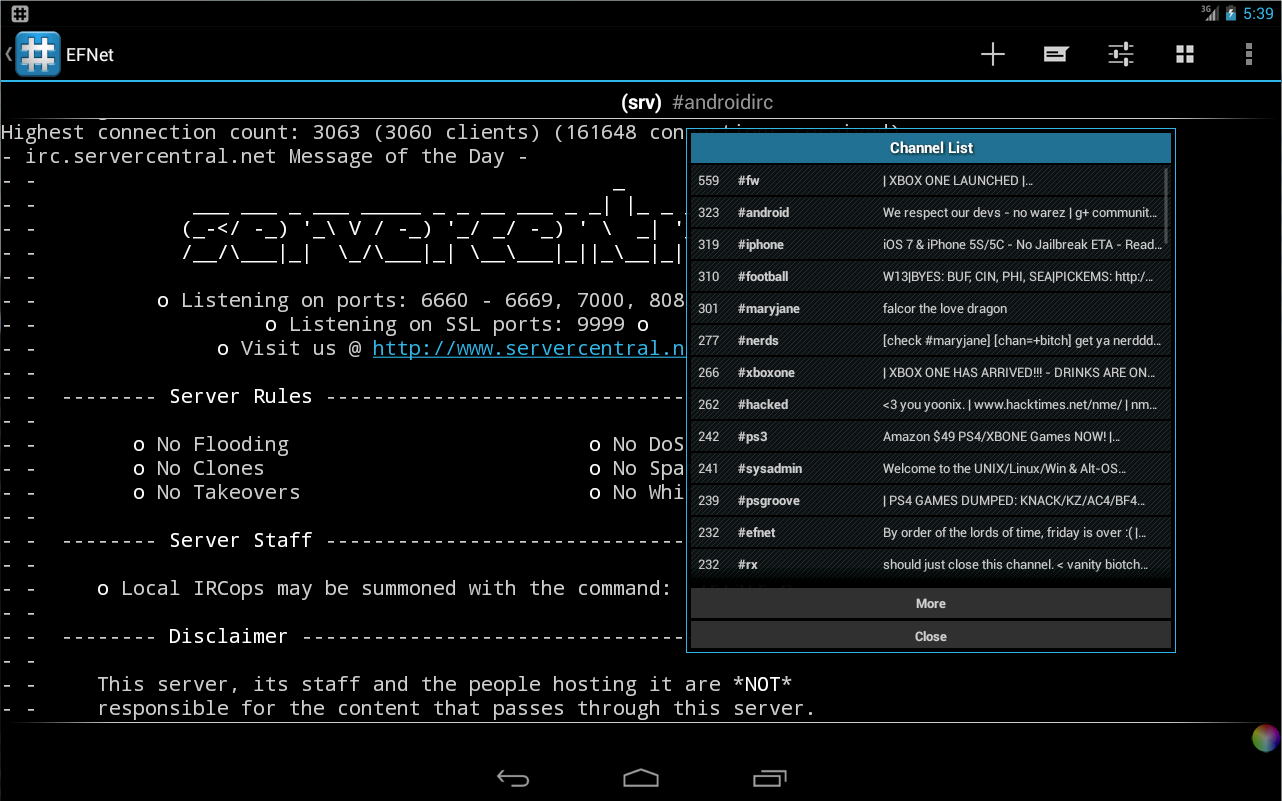 IRC for Android ™- screenshot