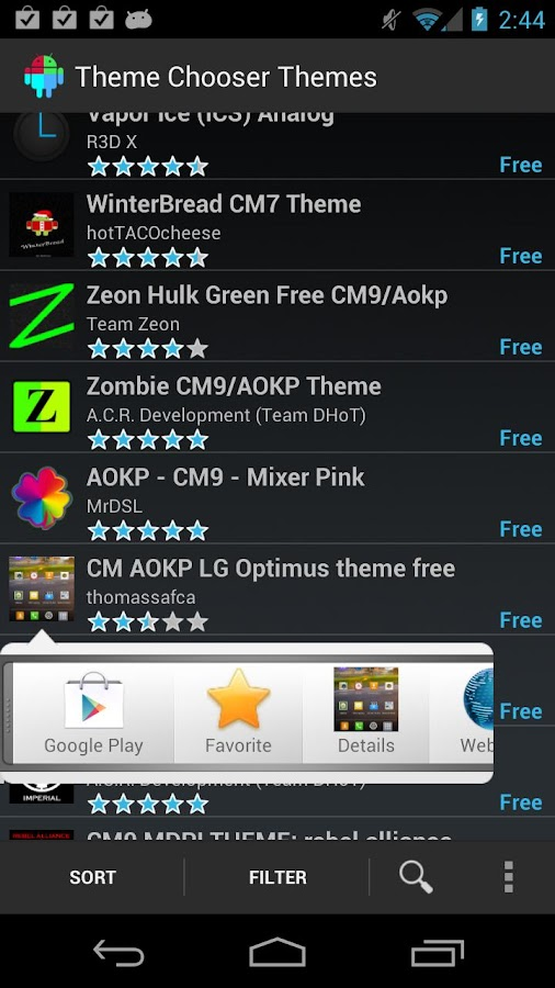 Theme Chooser Themes- screenshot