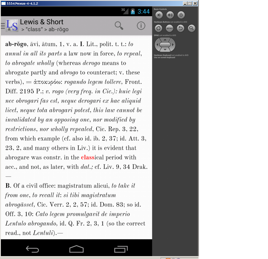 Lewis & Short Latin Dictionary - screenshot