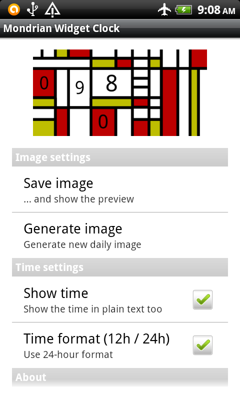 Mondrian Widget Clock- screenshot